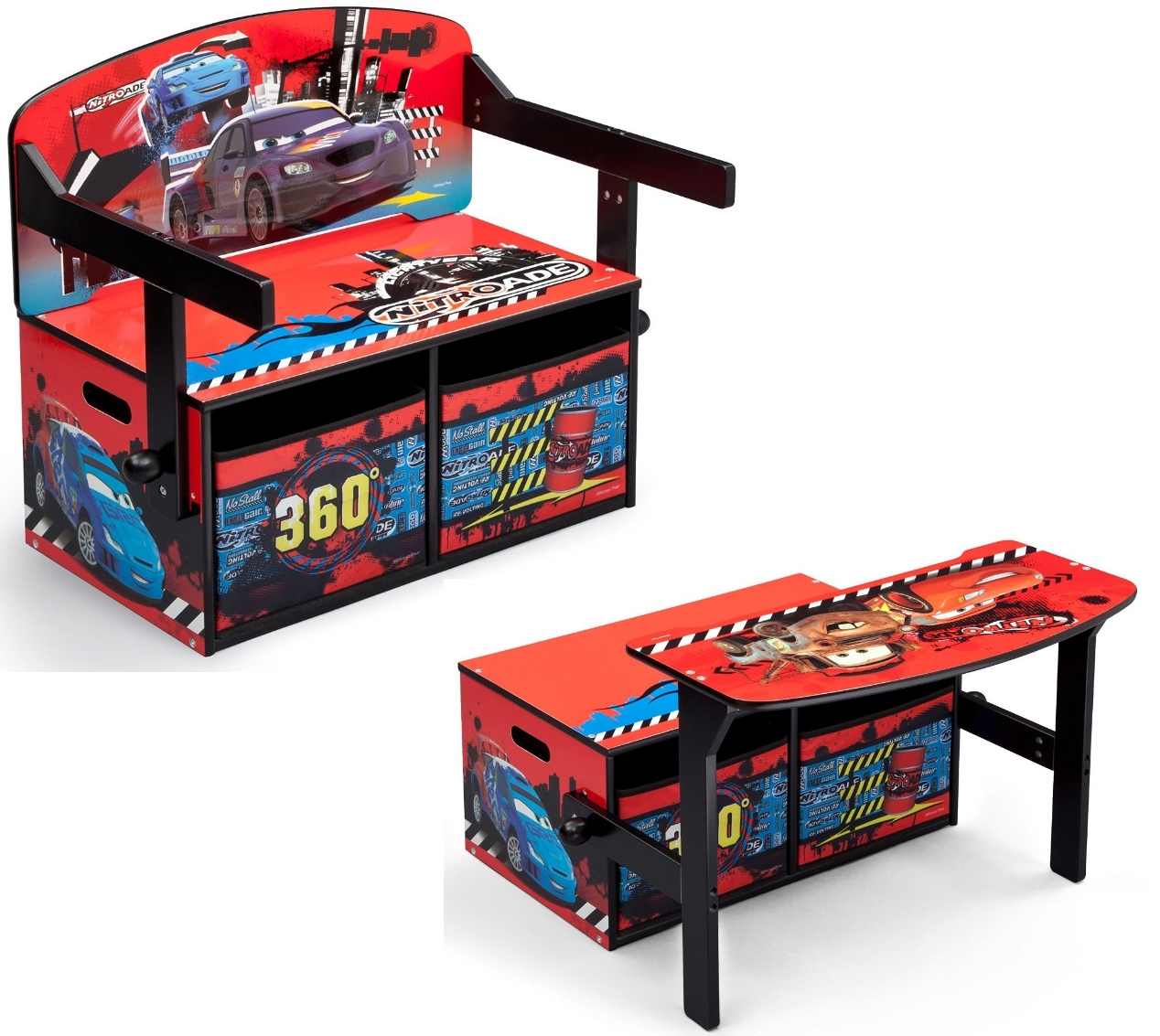 kinderbank disney cars 3in1 bank tisch aufbewahrung spielzeugkiste truhe holz ebay. Black Bedroom Furniture Sets. Home Design Ideas