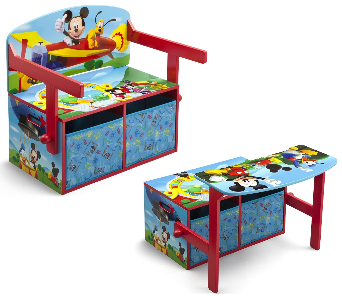 kinderbank disney bank mickey mouse 3 in 1 aufbewahrung sitzbank spielzeugkiste ebay. Black Bedroom Furniture Sets. Home Design Ideas