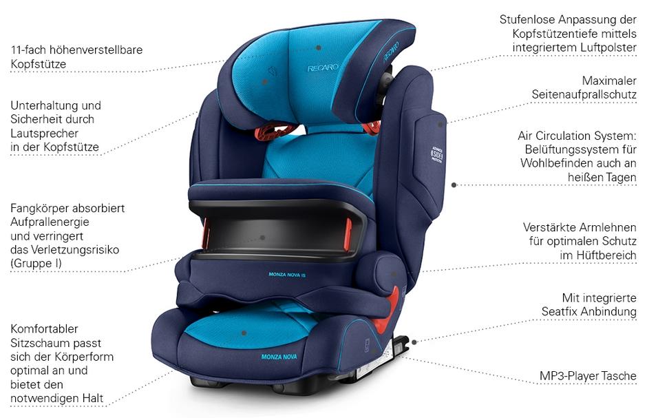isofix recaro monza nova is xenon blue 2017 kindersitz. Black Bedroom Furniture Sets. Home Design Ideas